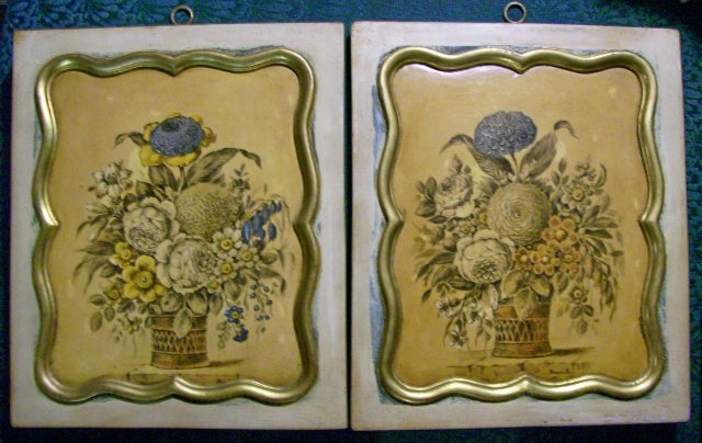 Borghese of Italy Art Plaque Pair Botanicals Ca. 1940 Wood/Gesso 10