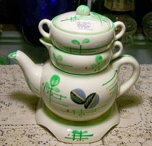 Art Deco Ceramic Stacking 5-Piece Teaset 1930's Japan Cream/Green
