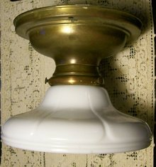Brass Ceiling Lamp/Light Fixture with Opal Glass Shade Early 1900's Original