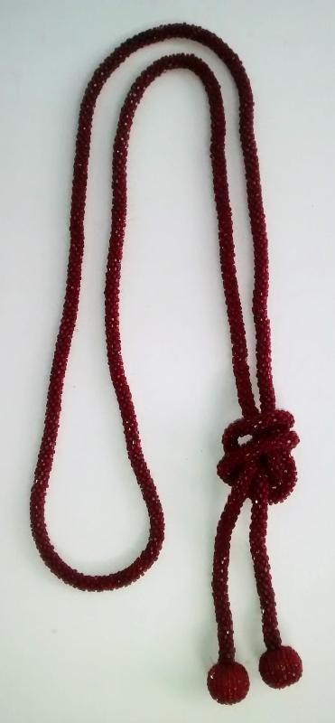 Flapper Lariat Necklace Deep Red Beads 1920s 54
