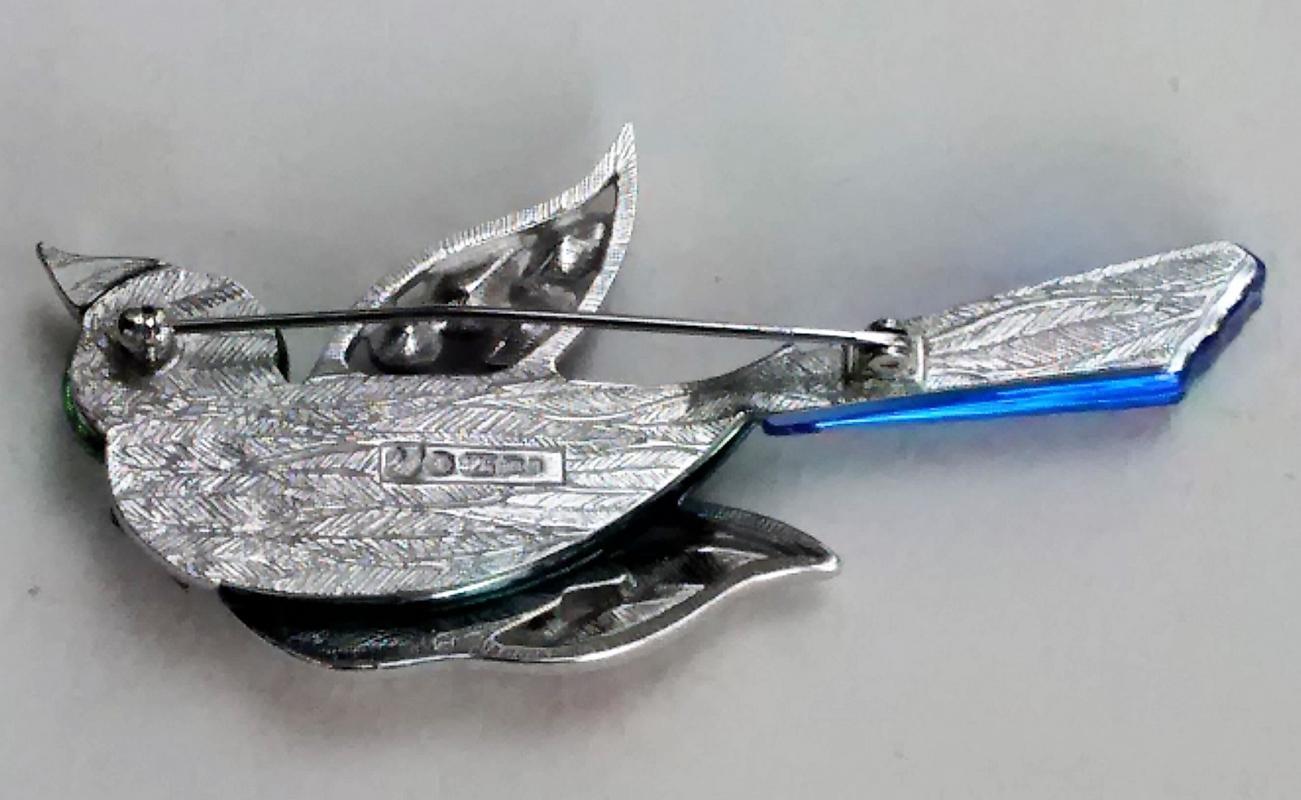Swarovski Crystal Bird Brooch #276839 Parrot Signed