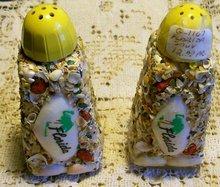 Florida Souvenir Salt & Pepper Shakers Shell Encrusted Glass 1960's