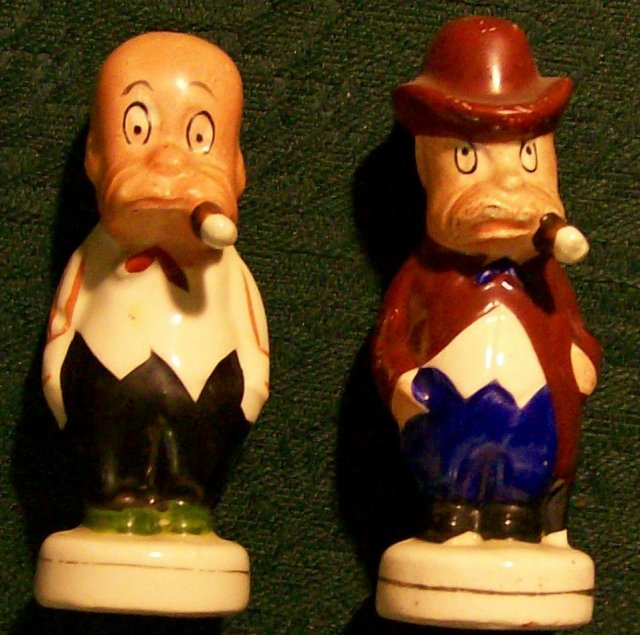 Toonerville(?) Guys Comic Ceramic Salt & Pepper Shakers 1930's Cartoon