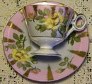 Royal Sealy Fancy Ceramic Cup & Saucer with Yellow Rose