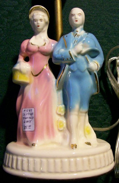Figural Ceramic Lamp with Colonial Couple 1930s-40s 10