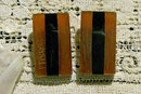 Bakelite Earrings: Rootbeer and Black Rectangle