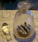 Bohemian Crystal Decanter with Stopper:  Golden Galleon