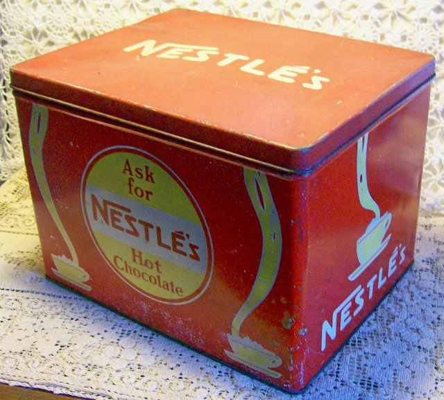 Nestle's Hot Chocolate Store Display Advertising Tin
