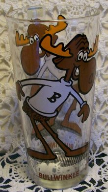 Bullwinkle Pepsi/P.A.T. Ward Productions Advertising Glass Tumbler 70s 6.25