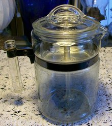 Pyrex Flameware Glass Percolator, Ca. 1946-47 Approx. 9 Cup #7826B 8.5