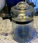 Pyrex Flameware Glass Percolator Ca. 1946-47 Approx. 9 Cup #7826B 8.5