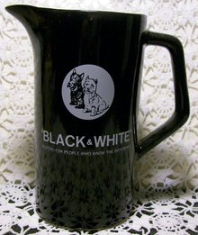 Advertising Pitcher:  Black & White Scotch