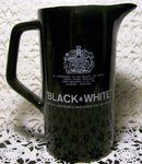 Black & White Scotch Ceramic Advertising Pitcher w/Dog Logo 6.75
