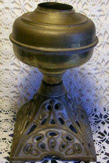 English-style Oil Lamp Cast Iron Base & Brass Font