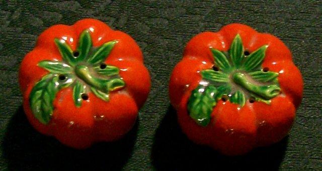 Figural Tomato Ceramic Salt & Pepper Shakers