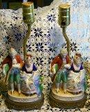 Occupied Japan Ceramic Figurine Lamp Pair #765