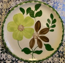 Blue Ridge Green Briar Ceramic Plate Set of 4 6.25