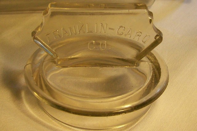 Franklin Caro Glass Advertising Canister 11