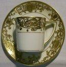 Noritake Christmas Ball #175 White & Gold Encrusted Demitasse Cup & Saucer 16034