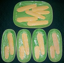Majolica Ceramic Corn Platter/ Plate Set Ca. 1950's Japan Green & Yellow