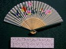Silk Fan with Box Hand-Painted Flowers Pierced Bamboo Early 1900's Japan