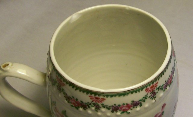 Chinese Export Tankard: Hand-painted Flowers & Insects
