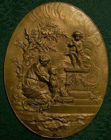 Dore Bronze Plaque:  Classical Woman & Child