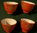 Chinese Ceramic Teacup Set of 4 Orange/Red Glaze Enamel Scroll Ca. 1900