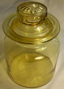 Mold-Blown Amber Glass Canister with Lid Ca. 1900