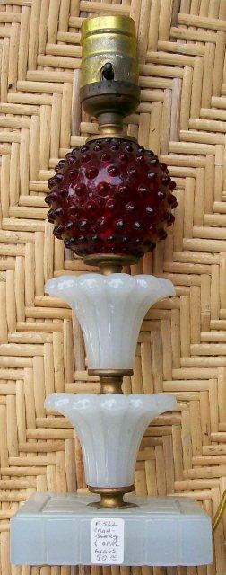 Lamp:  Cranberry Hobnail & Milk Glass