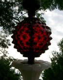 Lamp:  Cranberry Hobnail & Milk Glass