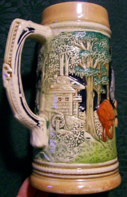 Wick German Stoneware Beer Stein Musician/Zither Player 1/2 Liter