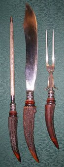 Stag Horn & Sterling Carving Set by Meriden Cutlery