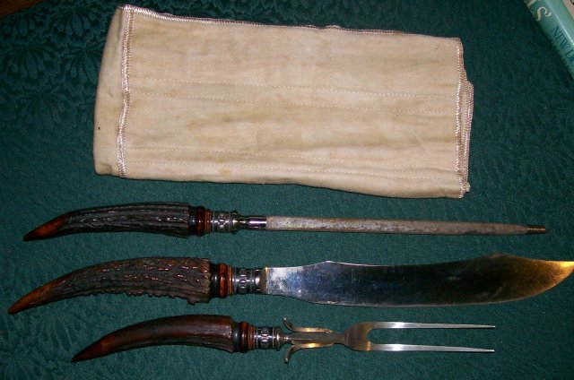 Antique Stag Horn & Sterling Silver Carving Set Meriden Cutlery 1890s