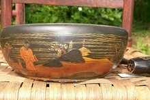 Japanese Lacquer Ware Wooden Nut Bowl with Mallet Early 1900's