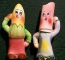 Anthropomorphic Salt & Pepper Shakers: Corn & Rhubarb