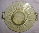 Topaz Yellow Depression Glass Two-Handled Server: Cut Floral Decagon