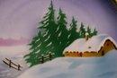 Tielsch Silesia Ceramic Plate: Hand-Painted Cabin in Snow Scene