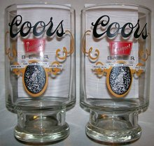 Coors Banquet Beer Advertising Tumblers 32 Oz. Pair 1970's