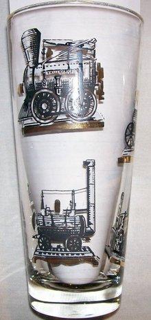Libbey Tumbler Set: Antique Trains