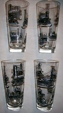 Libbey Tumbler Set: Antique Trains