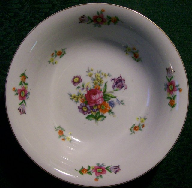 Occupied Japan Porcelain Serving Bowl Dresden-Style Florals 9