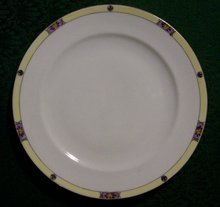 Meito Japan Ceramic Plate Set/4 #MEI489 Deco Floral Band Yel/Purp/Black