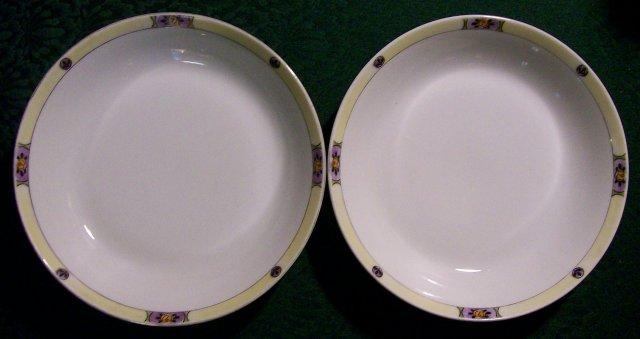 Meito Japan Ceramic Bowl Pair MEI489 Deco Floral Band Yel/Purp/Black 7.5