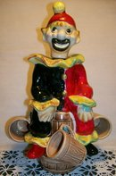 Clown on Barrel Figural Decanter Set:  1950's