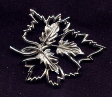Emmons Leaf Brooch/Pin Rhodium-Plated Openwork 1950's-60's