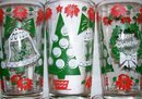 1950's-60's Christmas Holiday Glass Tumbler Set