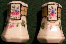 1920s Japan Ceramic Salt & Pepper Shakers Hand-Painted Clover/Trellis