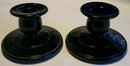 Paden City Black Amethyst Glass Candlestick Pair
