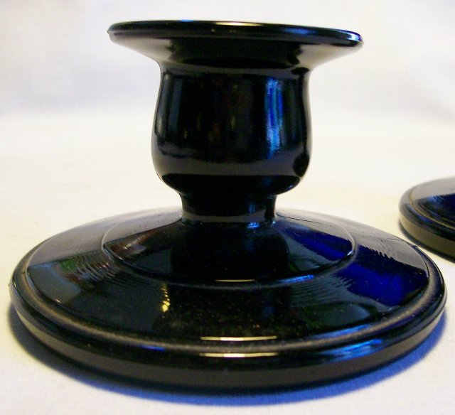 Paden City Black Amethyst Glass Candlestick Pair